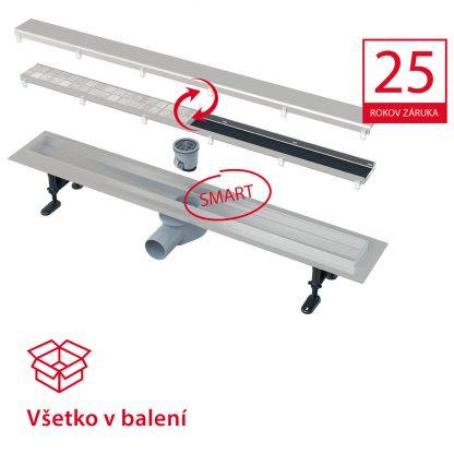Alca Plast podlahový žľab - APZ13-DOUBLE9-Fit and Go