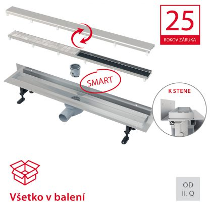 Alca Plast podlahový žľab - APZ23-DOUBLE9-Fit and Go