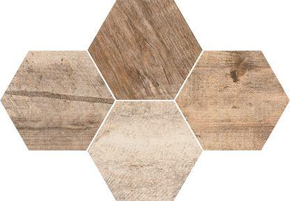 Ceramika Color - Stark Mosaic Hexagon Timber